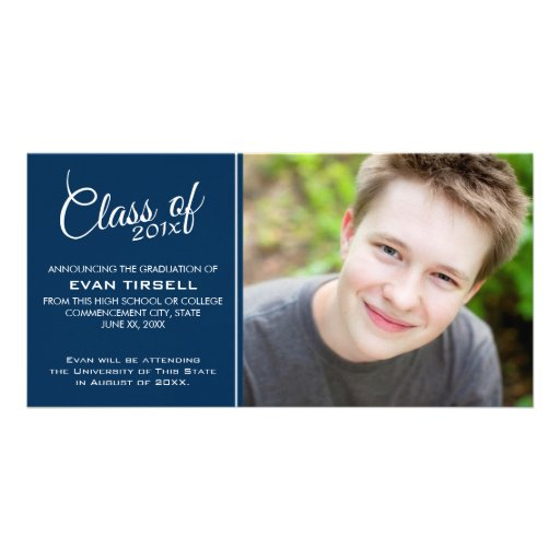 Modern Graduation Photo Announcement - Navy Blue Photo Greeting Card