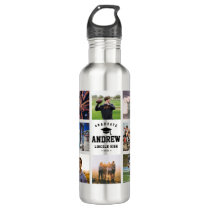 Modern Graduation Photo Collage Instagram Cool Stainless Steel Water Bottle