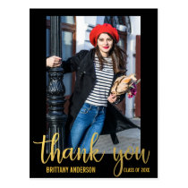 Modern Graduation Thank You Graduate Photo Gold Postcard