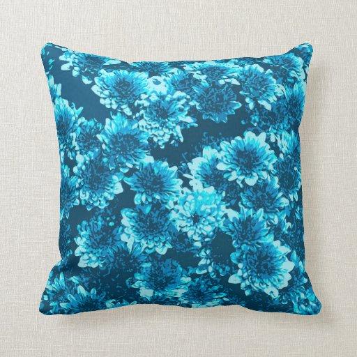 Modern Graphic Pillows : Modern Graphic Dahlia Pattern, Indigo Blue Throw Pillow Zazzle