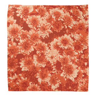 Modern Graphic Dahlia Pattern, Mandarin Orange Bandana