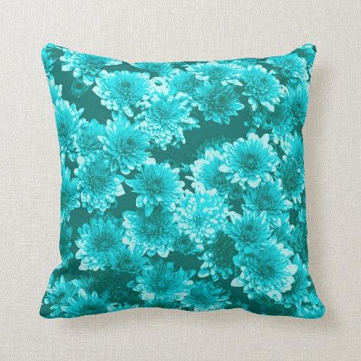 Modern Graphic Dahlia Pattern, Teal and Aqua Throw Pillow Zazzle