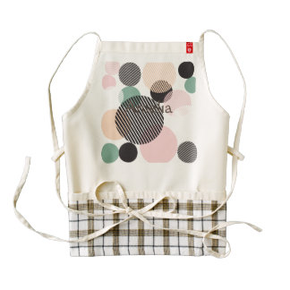 modern,graphic,design,black,pink,mint,polka dot,tr zazzle HEART apron