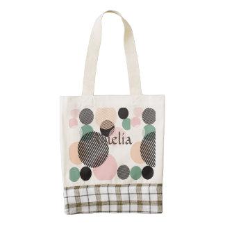 modern,graphic,design,black,pink,mint,polka dot,tr zazzle HEART tote bag