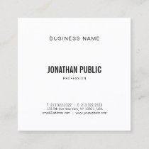 Modern Graphic Elegant Trendy Plain Minimalistic Square Business Card