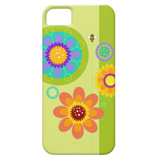 modern graphic garden flowers bumble bee on green iPhone 5 cover