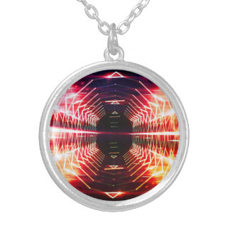 Modern Graphic Glowing Vortex - Silver Plated Necklace