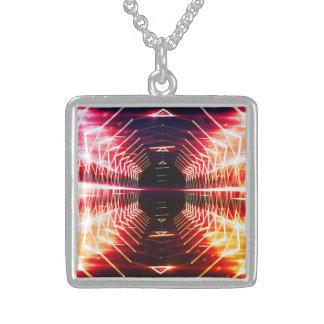 Modern Graphic Glowing Vortex - Sterling Silver Necklace