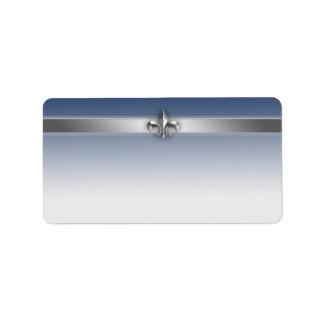 Modern Gray and Blue Silver Fleur de Lis Label