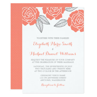Modern Gray And Coral Rose Wedding Invitations Nice Ideas