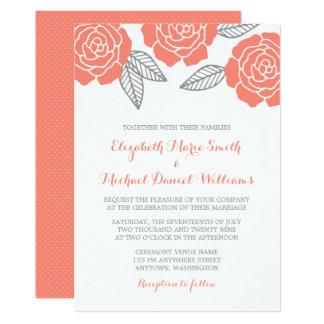 Elegant Modern Gray And Coral Rose Wedding Invitations