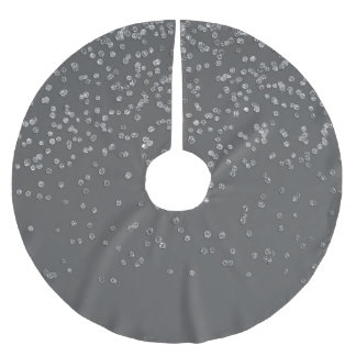 Modern Gray and Faux Silver Glitter Confetti Brushed Polyester Tree Skirt
