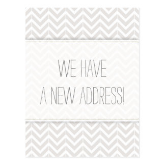 Modern Gray and White Chevron Change of Address Postcard