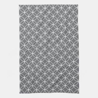 Modern Gray and White Circle Diamond Pattern Hand Towels