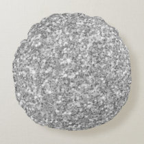 Modern Gray And White Glitter Pattern Round Pillow