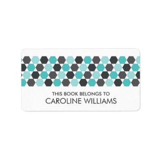 Modern gray aqua blue hexagon bookplate book label address label