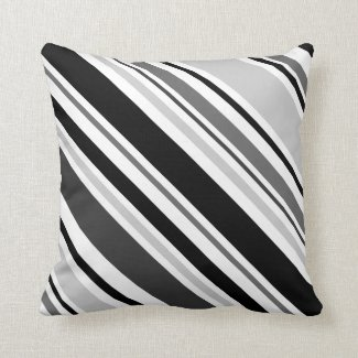 Modern Gray, Black, White Stripe Pillow