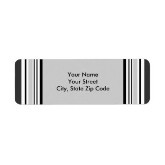 Modern Gray, Black, White Stripes address labels