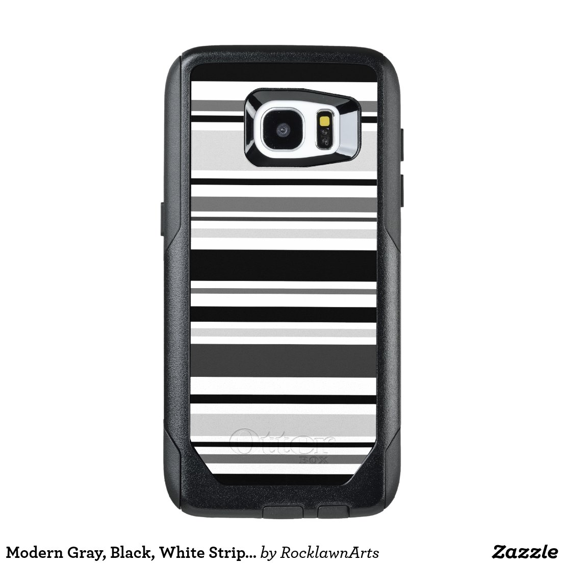 Modern Gray, Black, White Stripes OtterBox Samsung Galaxy S7 Edge Case