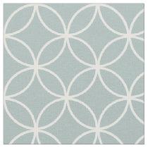 Modern Gray Blue and White Circle Diamond Pattern Fabric