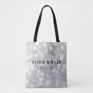 Modern Gray Bokeh Blur Elegant Wedding Tote Bag