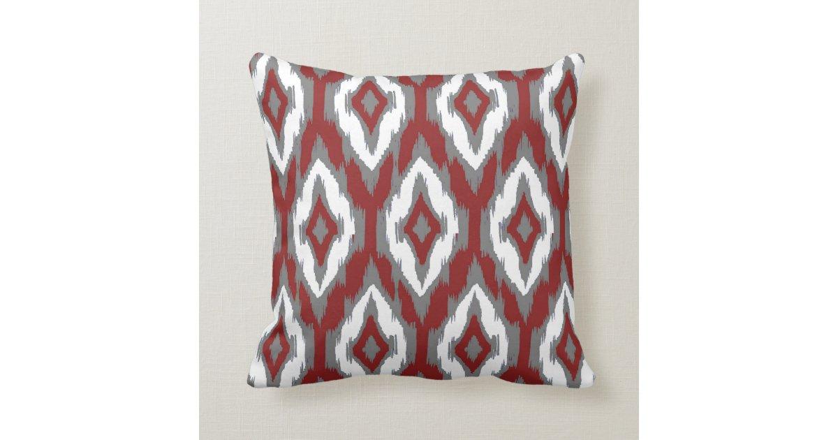 Modern Tribal Pillow Pattern : Modern gray burgundy white Ikat Tribal Pattern 1a Throw Pillow Zazzle