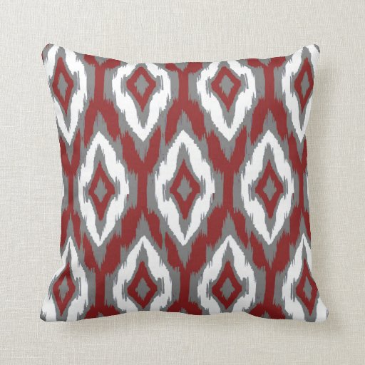 Throw Pillows For Maroon Couch : Modern gray burgundy white Ikat Tribal Pattern 1a Throw Pillow Zazzle