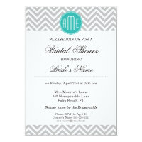 Modern Gray Chevron Mint Monogram - Bridal Shower Card