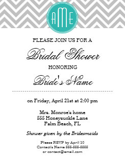 modern gray chevron mint monogram bridal shower invitation