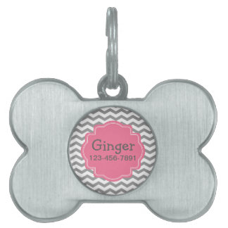 Modern Gray Chevron Zigzag and Pink Dog Tag