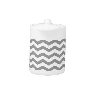 Modern Gray Chevron Zigzag Tea Pot