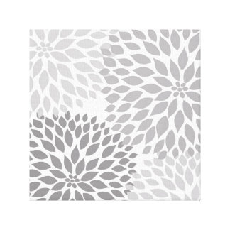 Modern Gray Dahlia Square Wall Art, grey floral Canvas Print