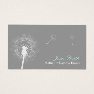 Modern Gray Dandelion Flowing Mommy Business Card