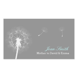 Modern Gray Dandelion Flowing Mommy Double-Sided Standard Business Cards (Pack Of 100)