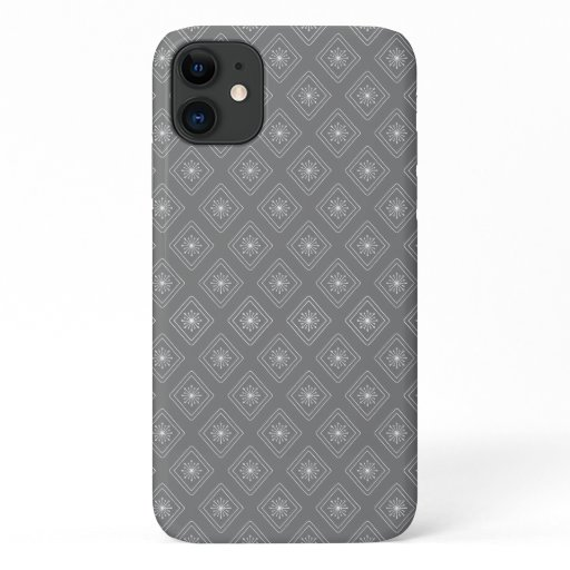 Modern Gray Diamond Snowflake pattern iPhone 11 Case