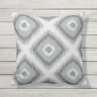 Modern Gray Diamond Squares Ikat Mosaic Pattern Outdoor Pillow