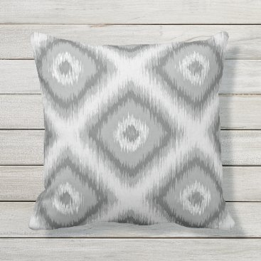 CozyLivin Modern Gray Diamond Squares Ikat Mosaic Pattern Outdoor Pillow
