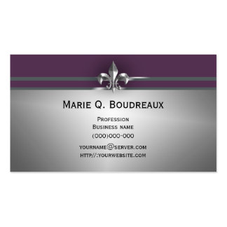 Modern Gray Eggplant Fleur de Lis Double-Sided Standard Business Cards (Pack Of 100)