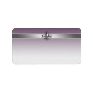 Modern Gray Eggplant Purple Silver Fleur de Lis Address Label