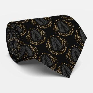 Modern Gray & Gold Stylized Damasks Neck Tie