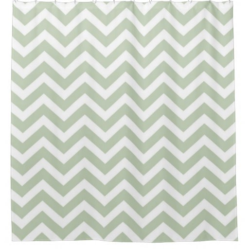 Modern Gray Green And White Chevron Striped Shower Curtain Zazzle