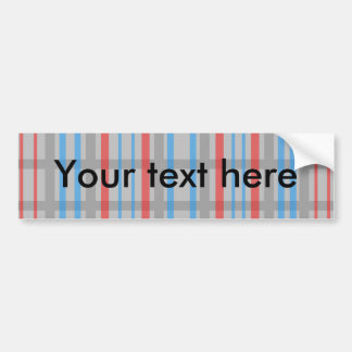 Modern gray grid pattern with red and blue stripes car bumper sticker