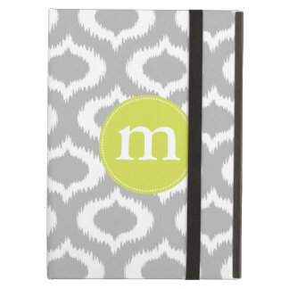 Modern Gray Ikat Diamonds Personalized Case For iPad Air
