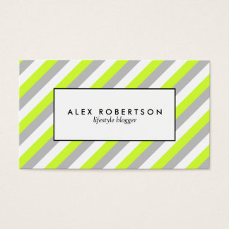 Modern gray, lime green and white stripe business card