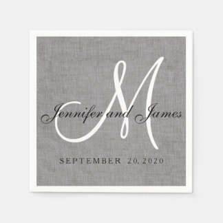 Modern Gray Linen Monogram Wedding Paper Napkins