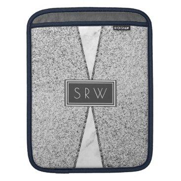Modern Gray Monogram  Granite Marble Professional iPad Sleeve