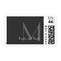 Modern Gray Monogram Personalized Postage