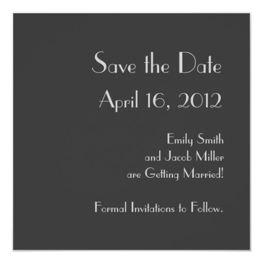 "Modern Gray Monogram Save the Date Announcements 5.25"" Square Invitation Card"