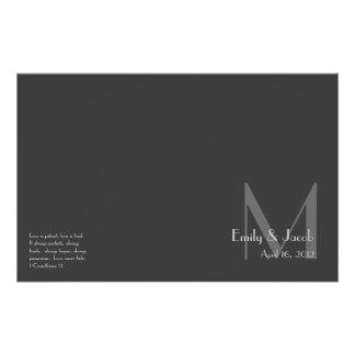 Modern Gray Monogram Wedding Programs
