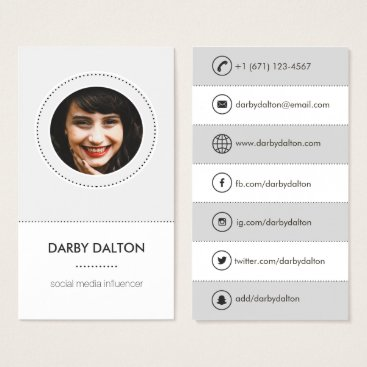 Professional Business Modern Gray Photo Social Media Business Card